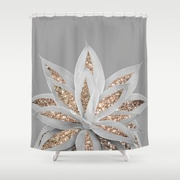 Gray Agave with Gold Glitter #1 #shiny #tropical #decor #art #society6 Shower Curtain