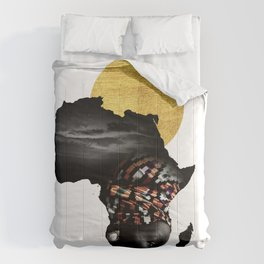 Africa Map Afrocentric Black Woman Portrait Comforters