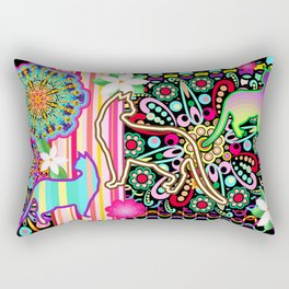 Mandalas, Cats & Flowers Fantasy Pattern Rectangular Pillow