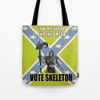 skeletor Tote Bags featuring Vote Skeletor by Itomi Bhaa