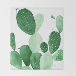 Green Paddle Cactus II Throw Blanket