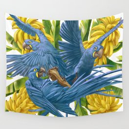 Hyacinth macaws and bananas Stravaganza. Wall Tapestry