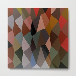 Burnt Umber Abstract Low Polygon Background Metal Print