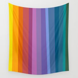 Modern Bright Rainbow Abstract Stripes Wall Tapestry