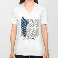 shingeki no kyojin V-neck T-shirts featuring Wings of Freedom (Shingeki no Kyojin) by DPain