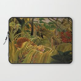 Tiger in a Tropical Storm - Surprised! by Henri Rousseau Laptop Sleeve