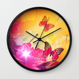 Awesome colorful flowers and butterfly Wall Clock