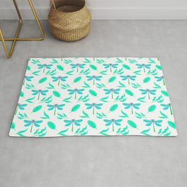 Pretty beautiful green dragonflies, delicate leaves elegant stylish white nature spring pattern. Rug