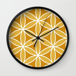Flower of Life Large Ptn Oranges & White Wall Clock