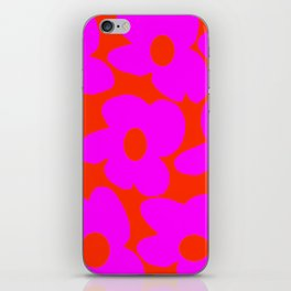 Pink Retro Flowers Orange Red Background #decor #society6 #buyart iPhone Skin