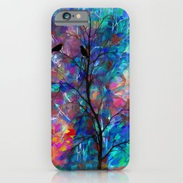 Love Birds Modern Turquoise and Pink Abstract  Wall Art iPhone Case