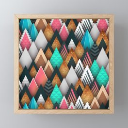Seamless Mountains Of Colorful Triangles Framed Mini Art Print