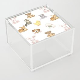 Cute Woodland Farm Baby Animals Nursery Acrylic Box