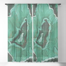 Malachite Marble With Gold Veins Sheer Curtain