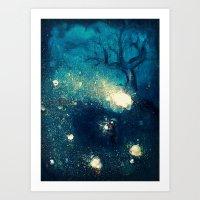 fireflies Art Prints featuring Fireflies by Morgan Ofsharick - meoillustration