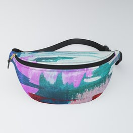 First Bloom: A vibrant abstract piece in purple, blues, and red by Alyssa Hamilton Art  Fanny Pack