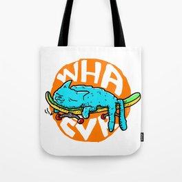 WHAEVR ~ Skateboarding Kitty Cat Naps Tote Bag