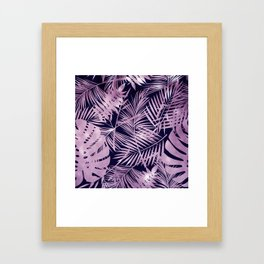 Tropical Palm Leaves Pattern: Heather Lilac-Pink Framed Art Print