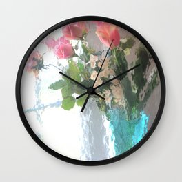Impressionistic French Aqua Coral Pink Roses Tulips Floral Decor Wall Clock
