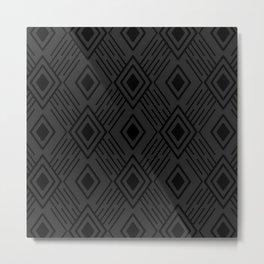 Dark grey and black Tribal Diamond Grid Metal Print