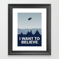 My I want to believe minimal poster-tardis Framed Art Print