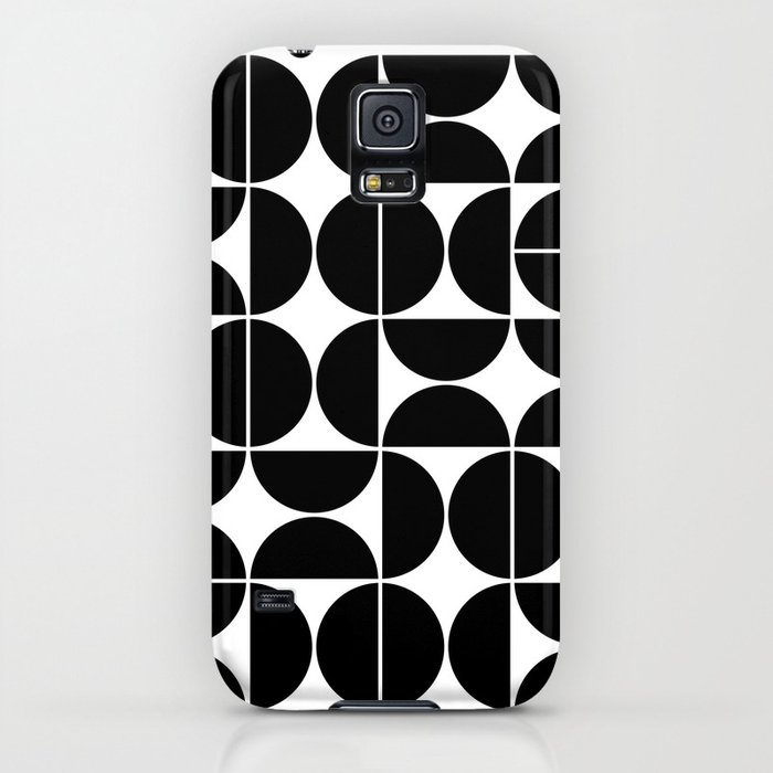 mid century modern geometric 04 black iphone case