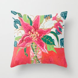 Pink and White Lily Bouquet with Matisse Wallpaper Throw Pillow