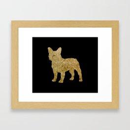 Golden Frenchie on black Framed Art Print