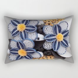 Blue Paper Quilled Flowers Floral Home Decoration Abstract Still Nature Art Rectangular Pillow
