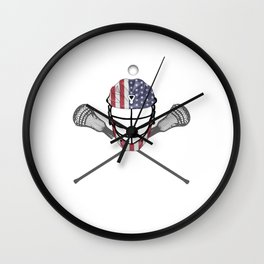Lacrosse Helmet and Sticks, American Flag Lax Helmet T-Shirt Wall Clock