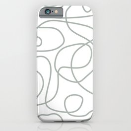 Doodle Line Art Pattern | Medium Gray Green on White iPhone Case