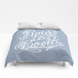 Rain, Tea & Books - White lettering only Comforters