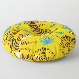 Yellow Tiger Tropical Pattern Floor Pillow