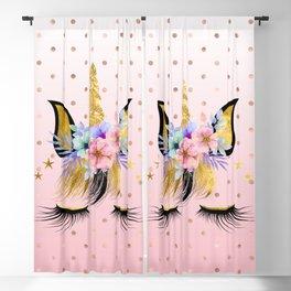 Floral Unicorn  Blackout Curtain
