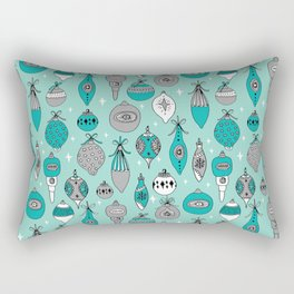 Ornaments christmas vintage classic turquoise and white hand drawn christmas tree ornament pattern Rectangular Pillow