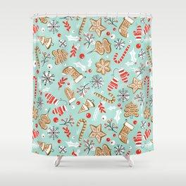 Gingerbread Dreams - Aqua Shower Curtain