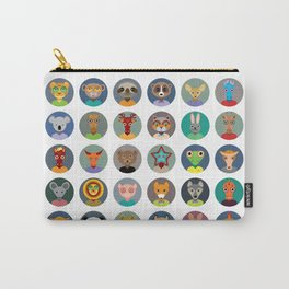 Set of animals faces circle icons set in Trendy Flat Style. zoo Carry-All Pouch