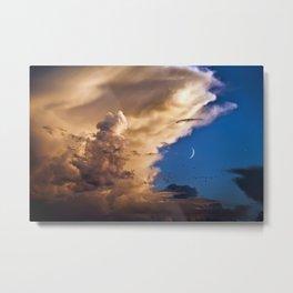 Clouds, Birds, Moon, Venus Metal Print