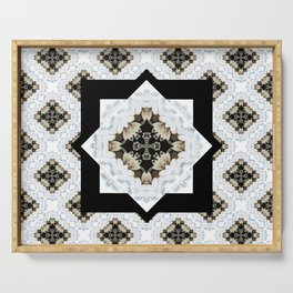 diamond cross pattern with borders Serving Tray