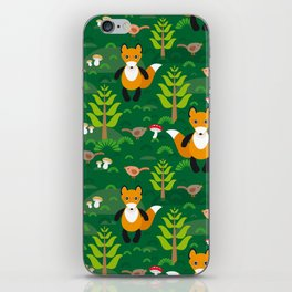 Fox and birds in the forest iPhone Skin