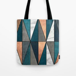 Copper, Marble and Concrete Triangles with Blue Tote Bag