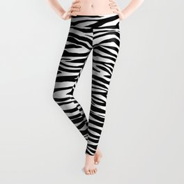 Zebra StripesPattern Black And White Leggings