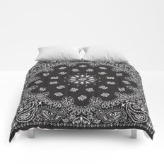 Paisley - Bandana - Black - Southwestern Art Comforters