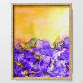 INTO ETERNITY, YELLOW AND LAVENDER PURPLE Colorful Watercolor Painting Abstract Art Floral Landscape Serving Tray