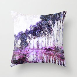 Monet Poplars on the Banks of the River Epte Magenta Violet Throw Pillow