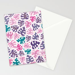 Monstera Doodles in Jewel Tones Stationery Cards