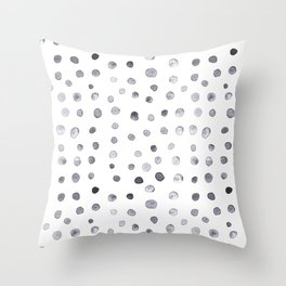 Minimalist Hand-painted Blue Dots Throw Pillow