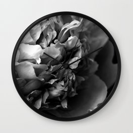 Black and White Summer Peony Wall Clock