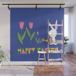 Happy Easter - White Bunny and Pink Tulips on Dark Blue Wall Mural
