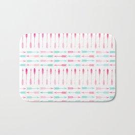 Trendy pink teal watercolor arrows pattern Bath Mat